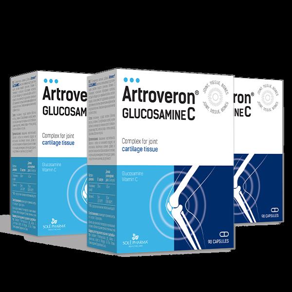 3 x Artroveron® Glucosamine C, 90 kapsulas - 3 mēnešu kurss!
